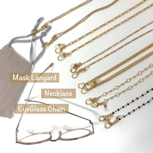 Gold Chain Necklace Face Mask Lanyard, Eyeglass Chain,Crystal Mask chain strap
