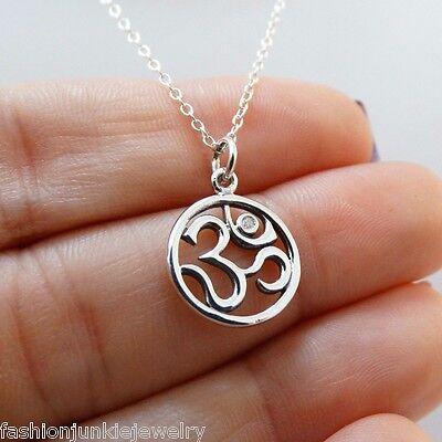 Ohm Necklace   925 Sterling Silver   Om Charm With 1Pt Genuine Diamond Namaste