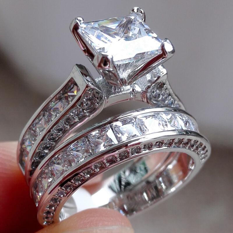 Women Wedding Engagement Ring Set Princess White Cz 925 Sterling Silver Sz 5-10