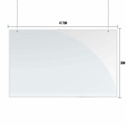 """Sneeze Guard 48"""" x 30"""" Clear Acrylic Shield Barrier Cashier Checkout Counter"""