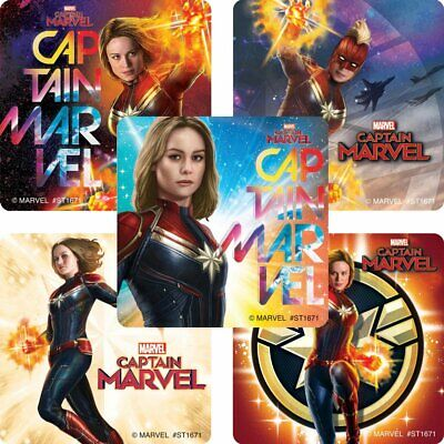 25 Captain Marvel Movie Stickers Party Favors Super Heroes  - Marvel Heroes Party Supplies