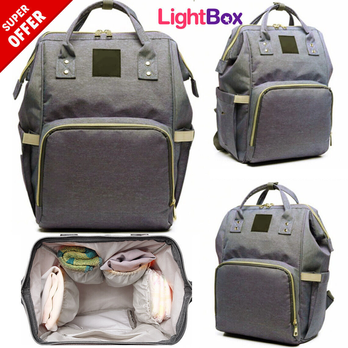 Mom Diaper Bag for Baby Backpack Nappy Waterproof Travel Str