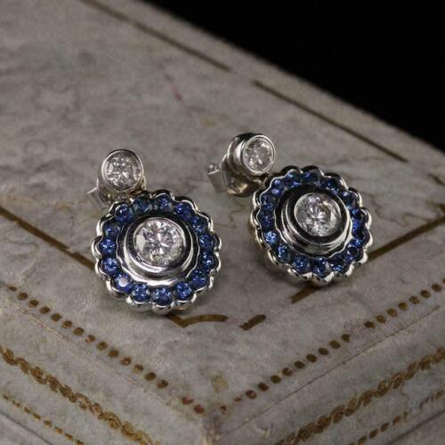 Vintage Art Deco Engagement Drop/ Dangle Earrings 14K White Gold 3.25 Ct Diamond