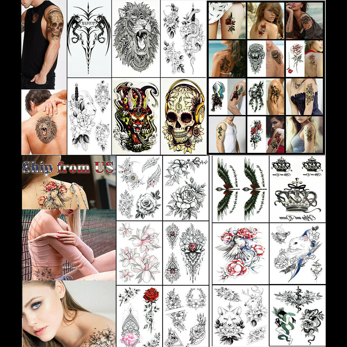 Temporary Tattoo Stickers Waterproof Arm Leg Body Art Fake Colorful Tattoos US Health & Beauty