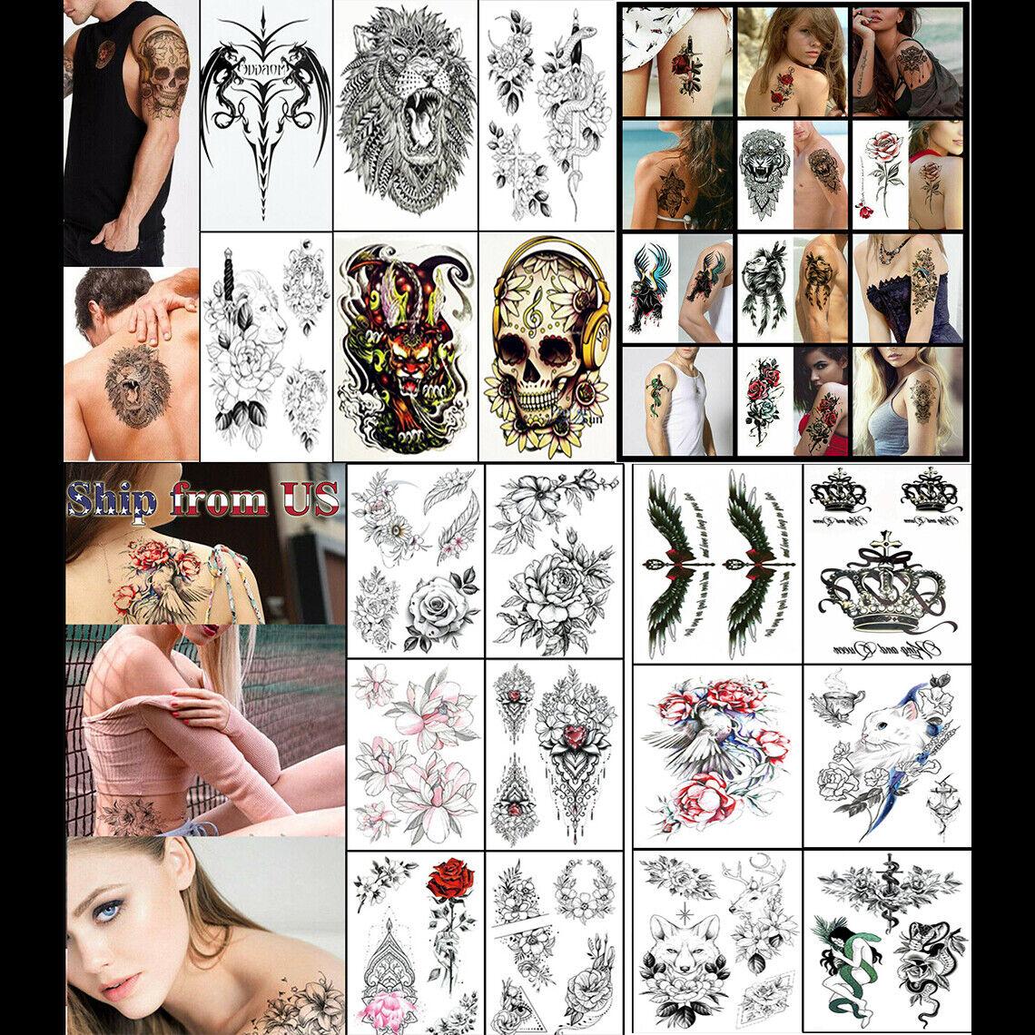 Temporary Tattoo Stickers Waterproof Arm Leg Body Art Fake Colorful Tattoos US Health & Beauty