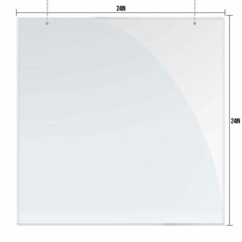 """Sneeze Guard 24"""" x 24"""" Clear Acrylic Shield Barrier Cashier Checkout Counter"""