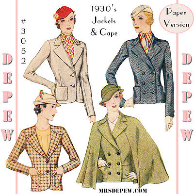 Vintage Sewing Pattern Ladies' 1930's Winter Blazer Jacket and Cape #3053