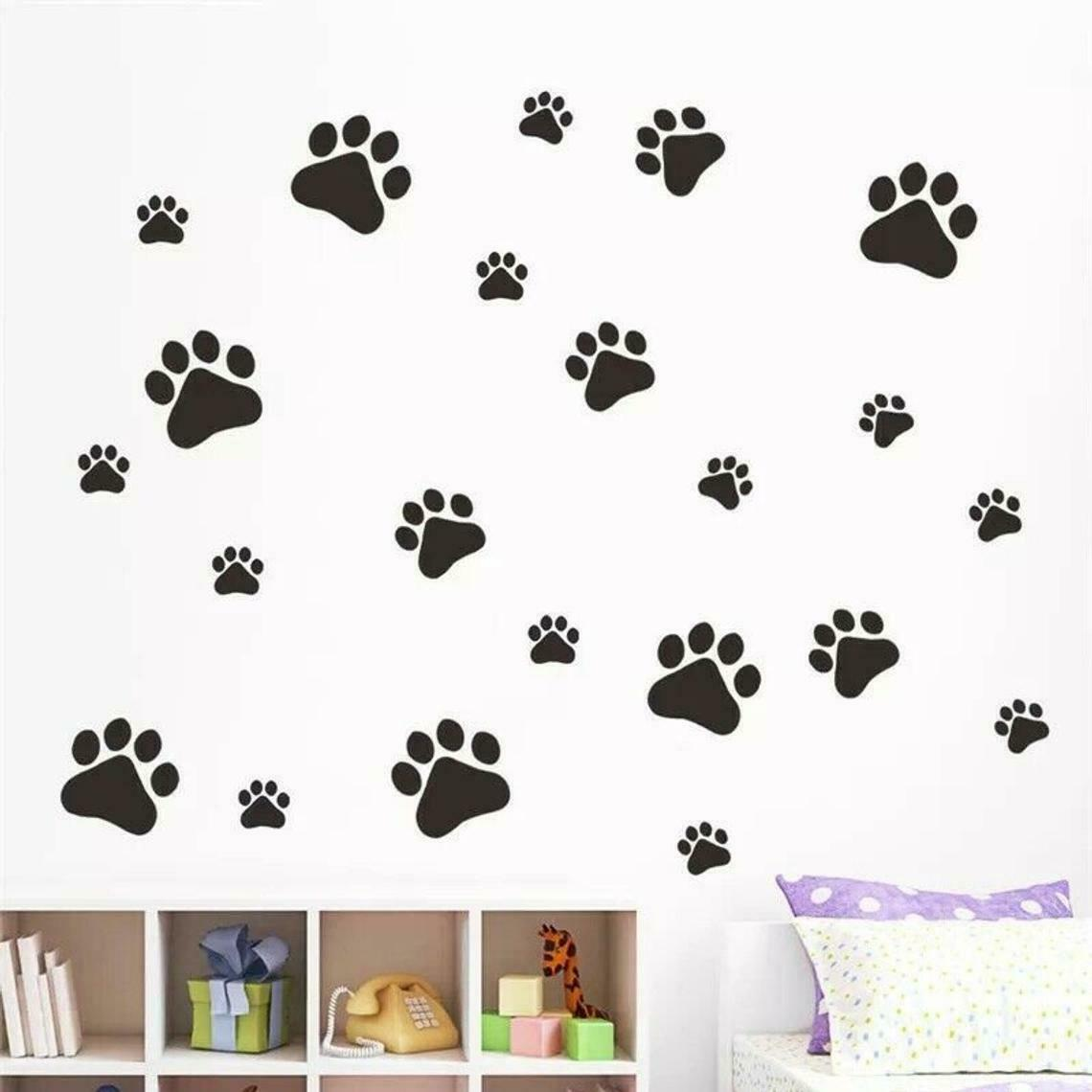 24 x Paw Print Dog Cat Decal Vinyl Stickers Mixed Size Car Wall Glass Craft Art 1