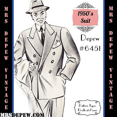 Vintage Sewing Pattern 1950's Men's Two Piece Suit in Any Size Depew #6451