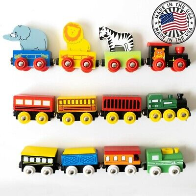 Small Wooden Toy Train Set Christmas and Birthday Gift for Children with 15pcs