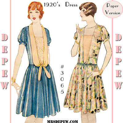 Vintage Sewing Pattern Ladies' Short Sleeve 1920s Party Dress Flapper 1927 #3065