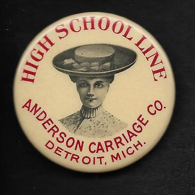 Vintage Advertising Pinback Button Pin Badge 1900's Anderson Carriage Company