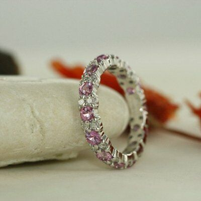 2.20 Ct Pink and White Sapphire Full Eternity Wedding Band Solid 14k White Gold (Pink And Gold Wedding)