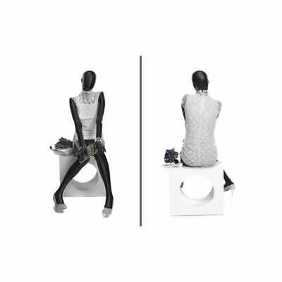 Seated Faceless Adult Female Fiberglass Matte Black Fashion Mannequin