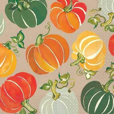 FALL AUTUMN Colorful Pumpkins LUNCH NAPKINS (16ct) ~ Thanksgiving Party Supplies