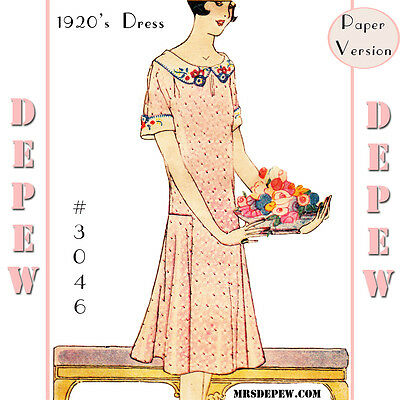 Vintage Sewing Embroidery Pattern Ladies 1920's Flapper Short Sleeve Dress 3046