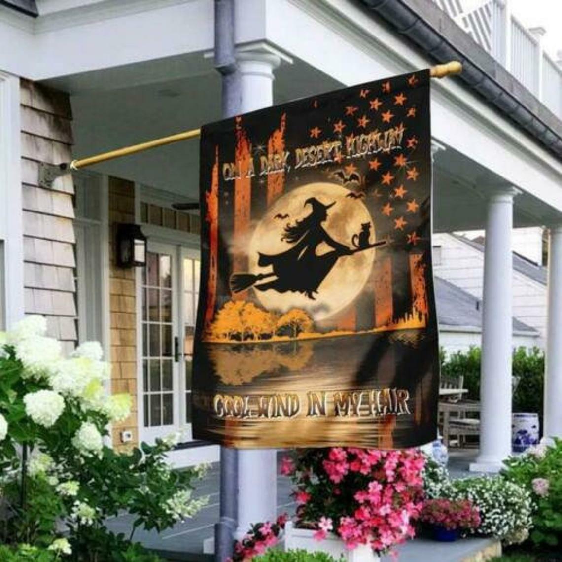 Halloween Witch On A Dark Desert Highway Garden And House Flag - $14.99