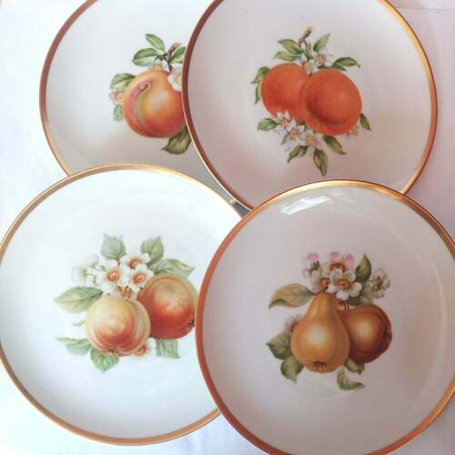 Vintage set of fine porcelain fruit plates from Germany. 8 different fruits from