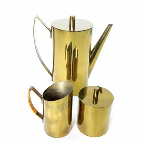 Vintage MCM Coffee Service Set Made in Italy Brass Modern Mid Century