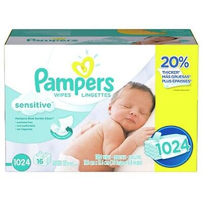 New Pampers Sensitive Baby Wipes, 1024ct  Wipes 20% Thicker  Free Shipping