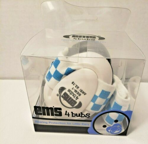 EMS 4 Bubs Hearing Protection  For Little Ears Headband Blue Checkered