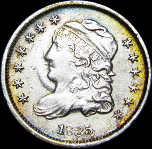 1835 Capped Bust Half Dime Silver Type Coin --- STUNNING ---- #Z780