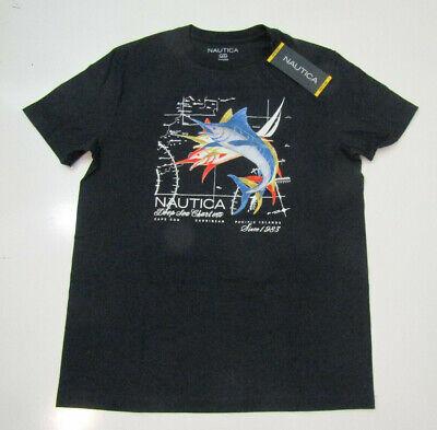 NAUTICA Navy Blue Deep Sea Charters Fish Logo Crew Neck T Shirt XXXL 3XL  NWT