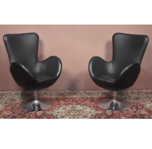 ⚡SOLD⚡ X2 ARNE JACOBSEN VINTAGE INDUSTRIAL STYLE SWIVEL EGG CHAIRS