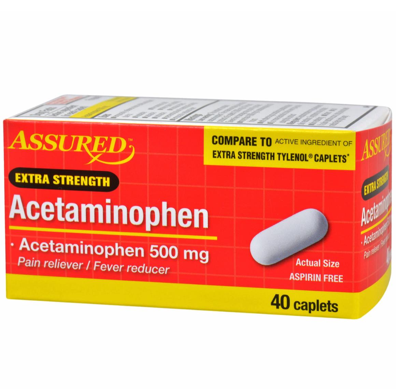 Extra Strength Acetaminophen 500 mg For Pain Fever 40 Caps~C
