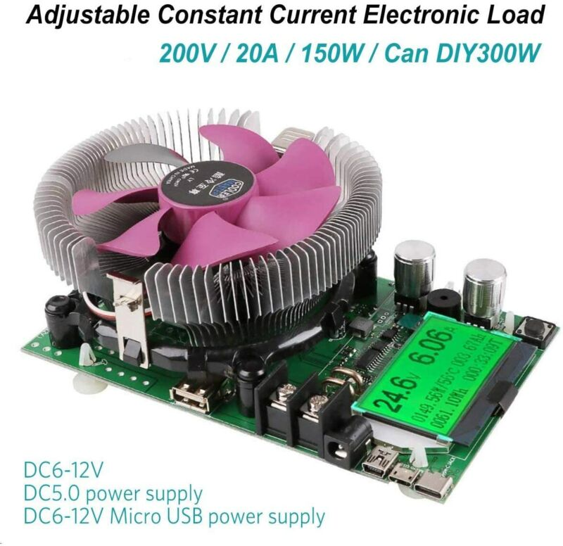 USB Constant Current Electronic Load Battery Capacity Tester Module 150W 200V