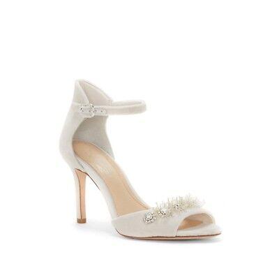 Imagine Vince Camuto PRISCA- Women's Bead Embellished Sandal, Ivory Velvet
