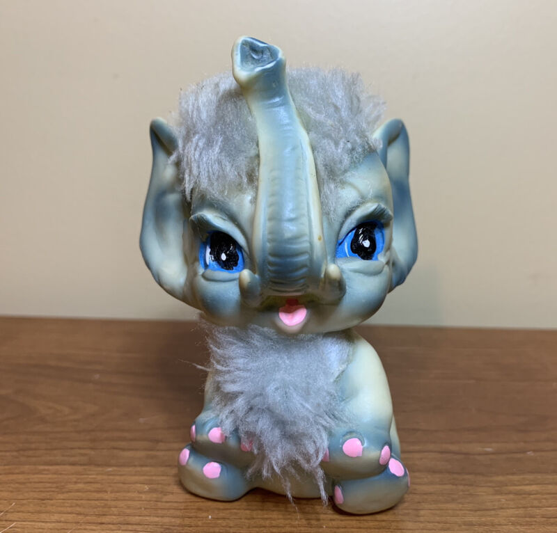 "Vtg 1971 Kamar Japan 4.75"" Blue Rubber Faux Fur Elephant Another Wild Thing"