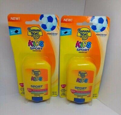 2X Banana Boat Kids Sport SPF 50+ Sunscreen Stick 0.5 oz Each Exp 9/20 Lot of 2 - Banana Boat Sport Stick