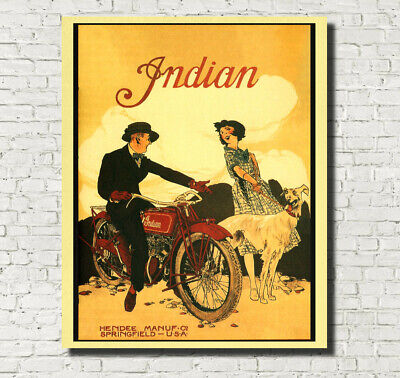 Vintage Indian Motorcycle Poster Advertising Fine Art Print A4