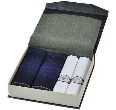 Stofftaschentücher Herren CH-240,Geschenk Box, Herren Taschentücher dunkel-weiss