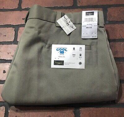 Haggar Cool 18 Classic Fit Comfort Waist Taupe Pants Men's Size 38 x 29 - Haggar Comfort Fit