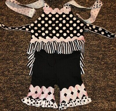 Mudd Pie Boutique 9-12 Month Girl Polka Dot Outfit Summer Pink/Black/White B31 Mudd Pie