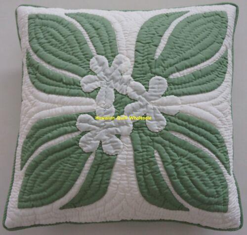 2 Hawaiian quilt handmade hand quilted/appliquéd cushions pillow covers PLUMERIA
