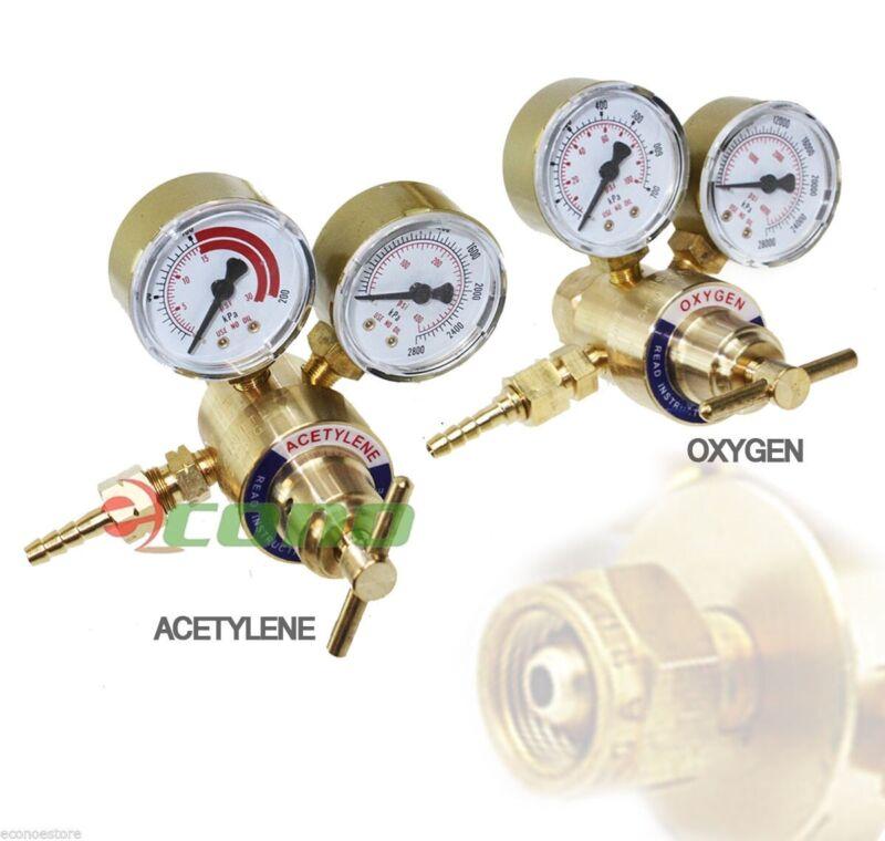 Brass Oxygen CGA540 & Acetylene CGA200 Regulators Gauges 4 Gas Welding Torch Kit