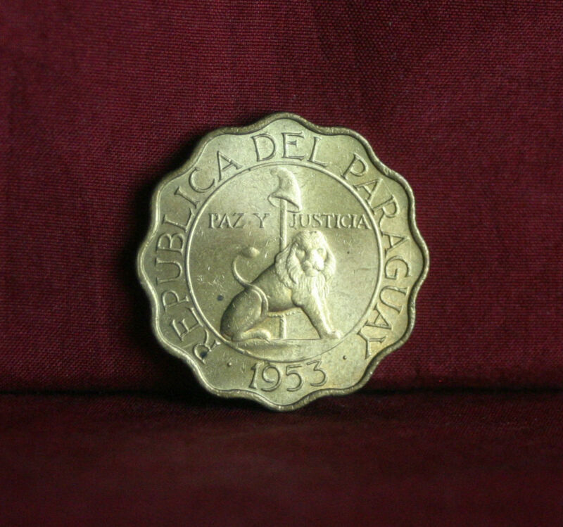 Paraguay 25 Centimos 1953 Unc World Coin KM27 Lion with Liberty Cap uncirculated