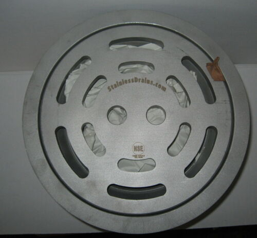 """Stainless Industrial Sanitary Drain Round 11 3/4"""" Across with Sediment Basket"""