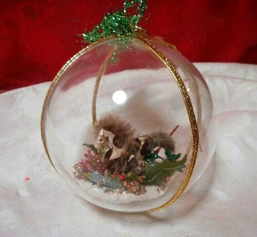 "Pony Horse Diorama Vintage Plastic  Christmas Ornament  4"""