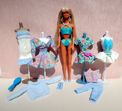 Vintage Barbie doll & clothes in pearl beach bikini 1990s + extra outfits, shoes