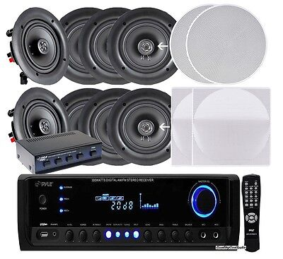 "NEW Pyle 4 PAIRS of 5.25"" 150W In-Ceiling Speakers + 300W Receiver & Selector"