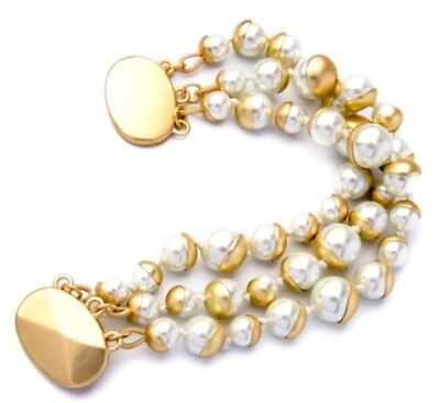 CHUNKY WHITE PEARL BEADED Gold Strand Haute Couture Designer Statement Bracelet