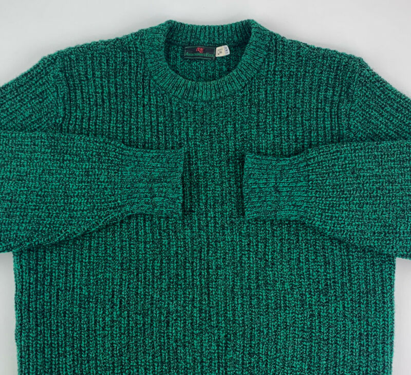 Vintage 1980s Abercrombie & Fitch Green Crewneck Cable Knit Sweater Mens XL USA