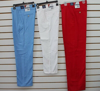 Boys $40 IZOD Med Blue, White, or Red Stretch Flat Front Dress Pants Szs 5 - 18