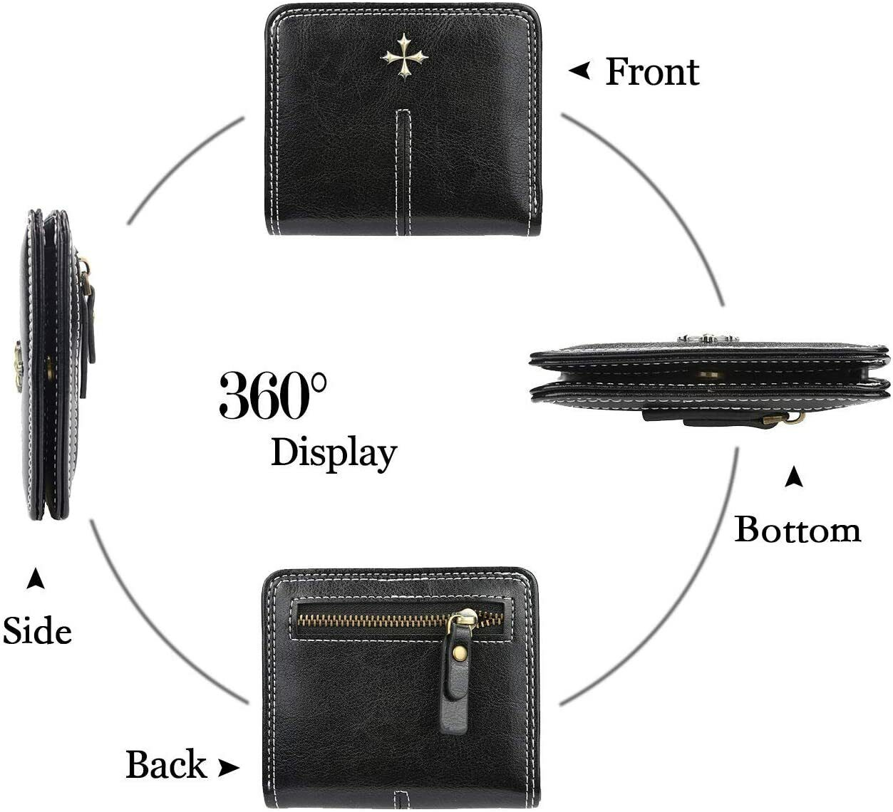 Small Wallet for Women Compact Bifold Leather Ladies Mini Purse with ID Window Clothing, Shoes & Accessories