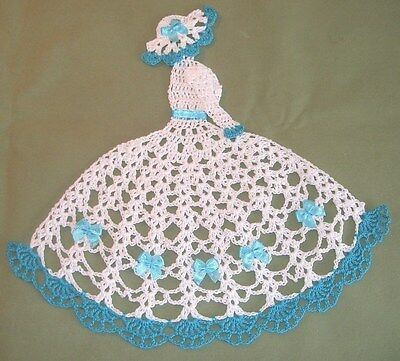 New Hand Crocheted Crinoline Lady Doily White/Blue  10 inches X11inches