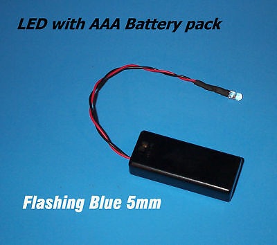 BLUE BLINKING 5mm LED WITH AAA BATTERY PACK & SWITCH(Halloween / Projects / DIY) (Halloween Diy Projects)